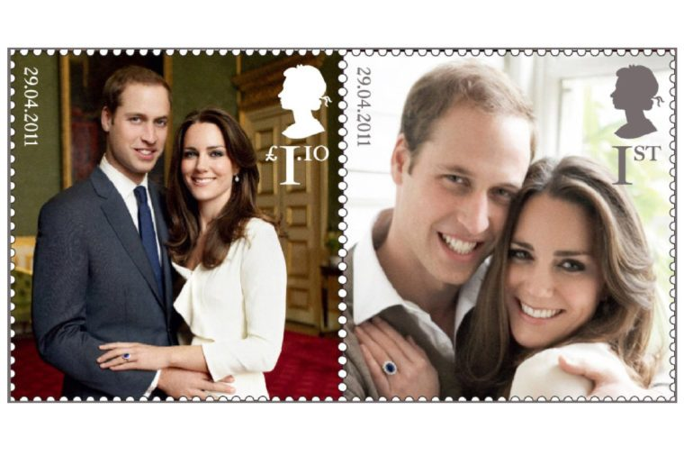 Royal Mail commorative stamps of Prince William and Catherine Middleton taken by Mario Testino