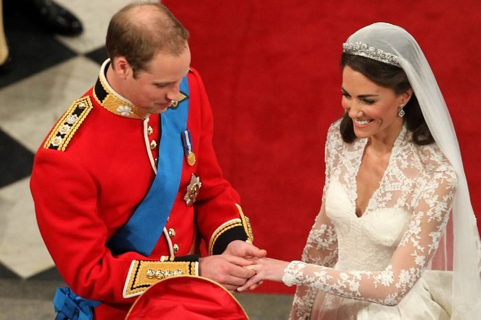 Prince William and Catherine Middleton at Westminster Abbey during their wedding service