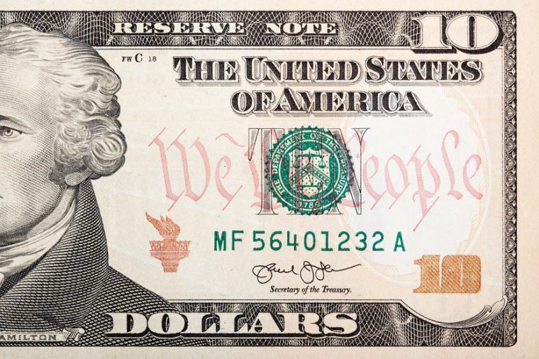 Part of ten dollar bill �¢?? American money.