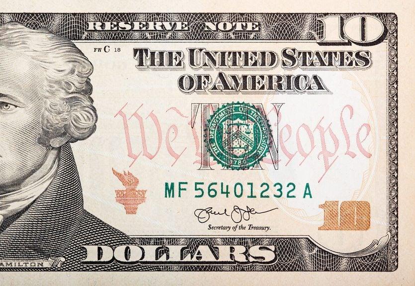ten dollar bill close up