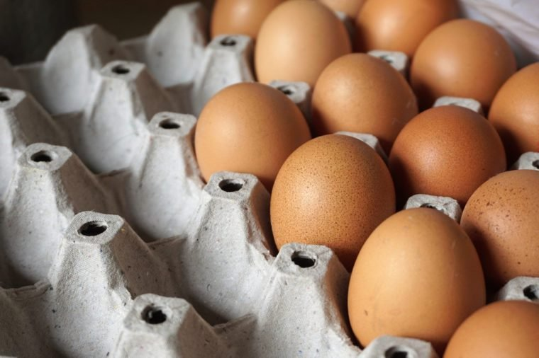 Close up of Chicken eggs,Close of package with eggs ,Eggs in tray, Pack of hen eggs