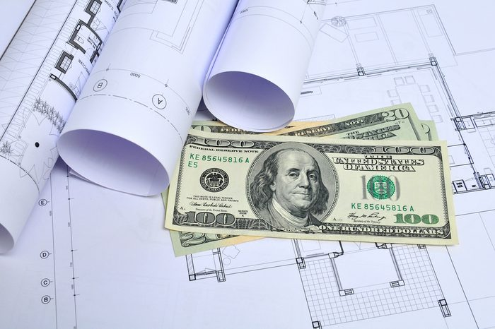 architectural drawing and dollar money