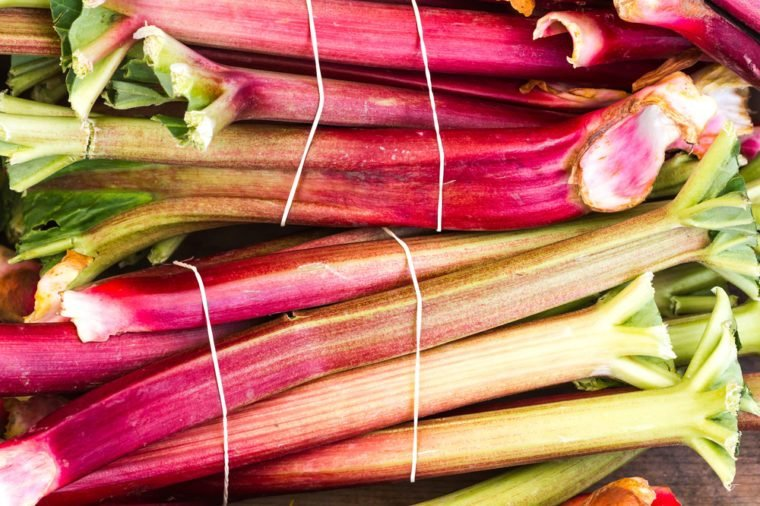 Bunches of organic rhubarb at a farmers market
