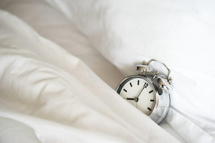 Alarm clock at 8 am. to wake up