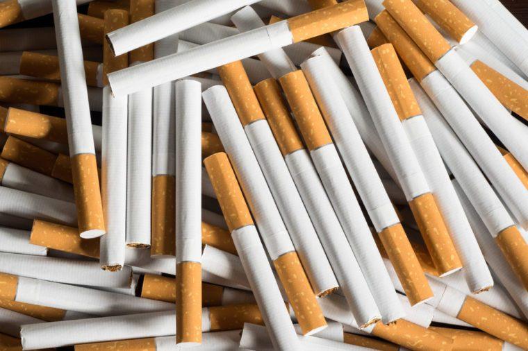 lot of cigarettes. Harm to health. Bad habit. Smoking
