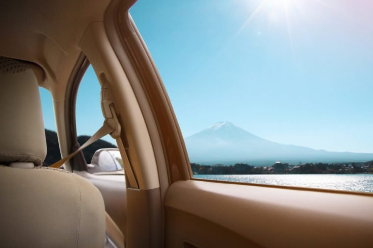 View from window car with landscape lake and Mount fuji in japan sunny