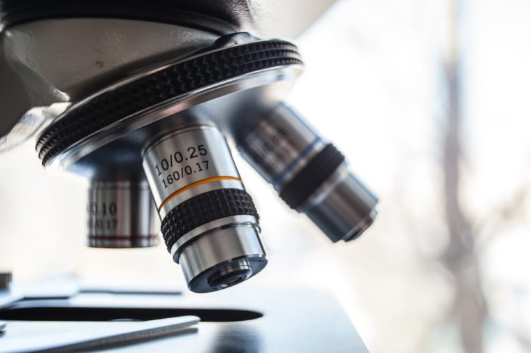 Laboratory Equipment - Optical Microscope.Microscope is used for conducting planned, research experiments, educational demonstrations in medical and health institutions, laboratories. Close up photo.