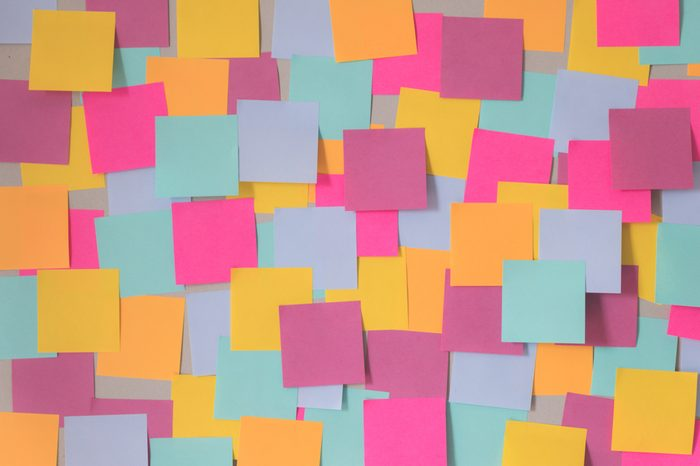 Many color blank sticky note wall background