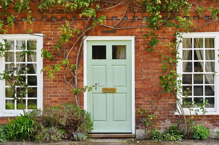 View of a Beautiful House Exterior and Front Door Seen on a Street in an English Town