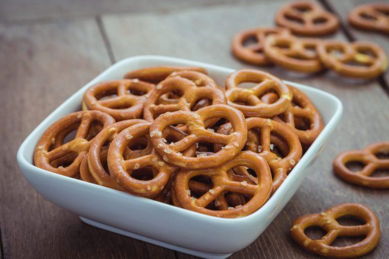 Salted pretzel in bowl