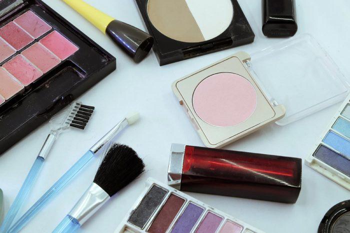 Various makeup products. Makeup brush and makeup cosmetics.