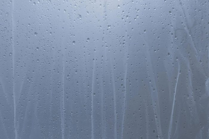 water drop on shower curtain
