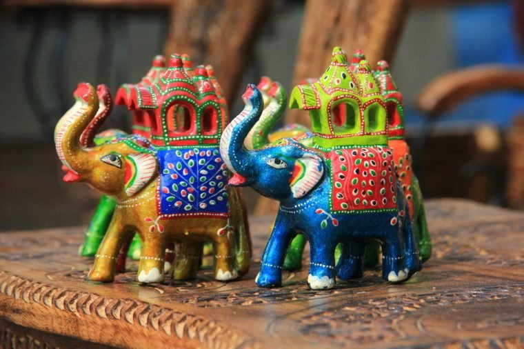 Wooden Elephants sold as souvenir at Dilli Haat, Delhi