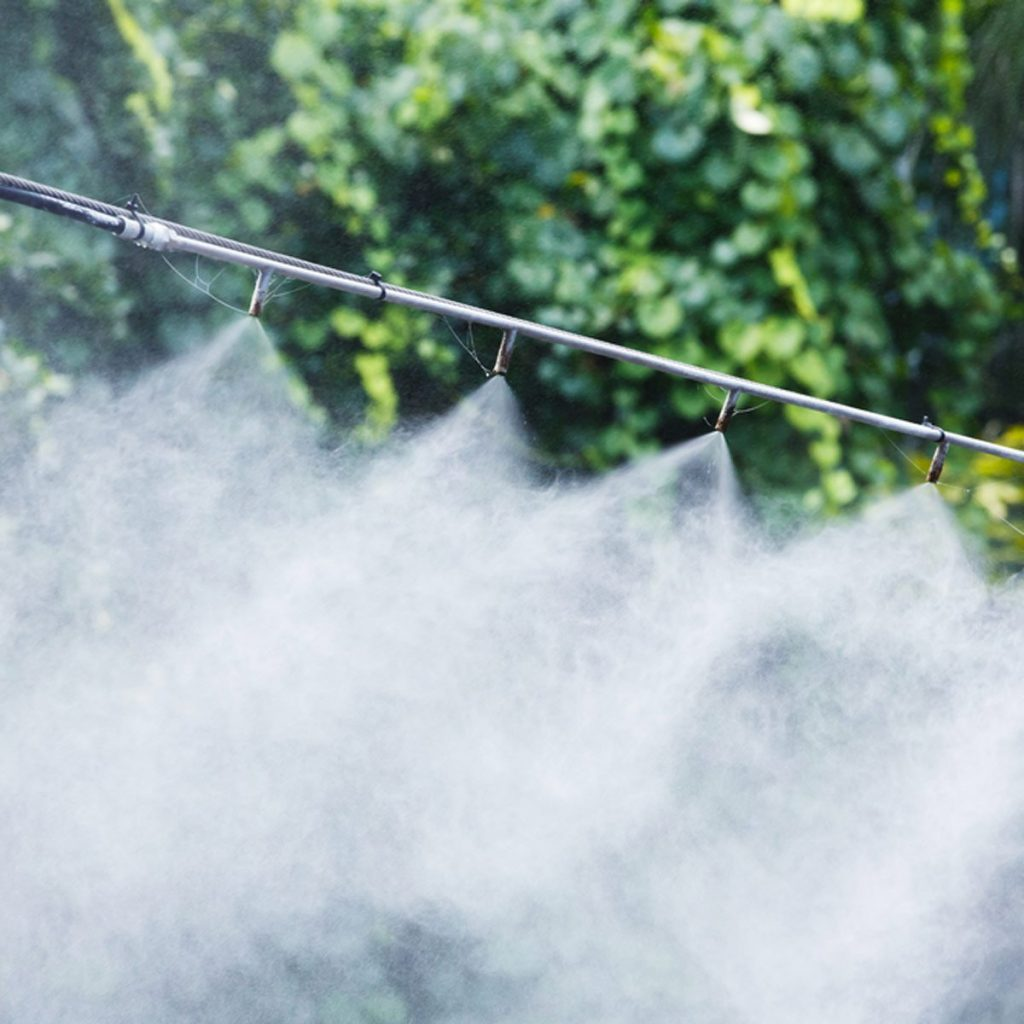 Mist nozzle water spraying system to make humidifier and cooling climate to reduce hot weather or for irrigation