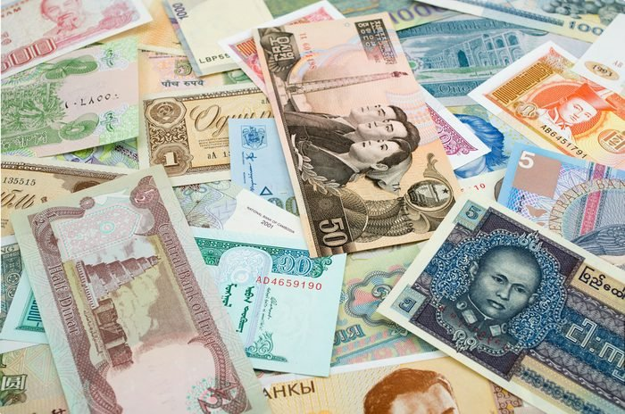 Background of different currency from countries around the world