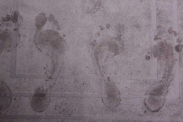 footsteps on a bathmat