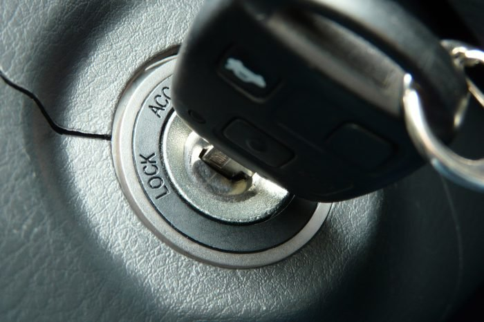 Car keys in ignition about to start the car