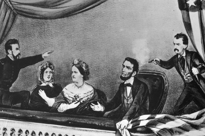 ABRAHAM LINCOLN BEING ASSASSINATED BY JOHN WILKES BOOTH