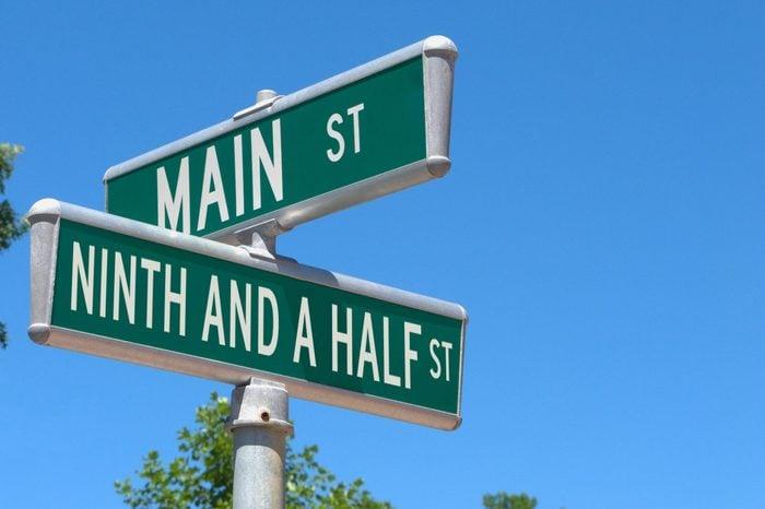 Main Street. Ninth and a Half St.