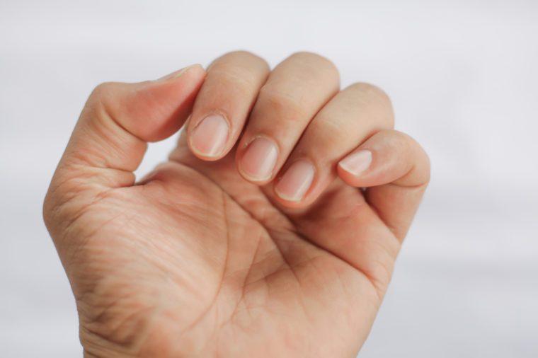 closeup of man finger nail