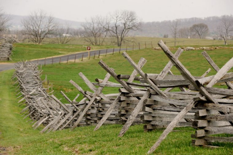 Worm Rail Fences Are Seen at Antietam National Battlefield in Sharpsburg Maryland Usa 11 April 2011 the Twelve-hour Battle of Antietam on 17 September 1862 Between Union and Confederate Armies was the Bloodiest One-day Battle in American History of Nearly 100 000 Soldiers Engaged in the Battle About 23 000 Were Killed Wounded Or Missing Six Brigadier and Major Generals Were Killed Or Mortally Wounded One Soldier Described the Battle of Antietam As 'An Afternoon in the Valley of Death' President Abraham Lincoln Presented a Draft of the Emancipation Proclamation to Congress Five Days Later Although Scholars Still Debate who Won the Battle of Antietam the 150th Anniversary Or Sesquicentennial of the Beginning of the Civil War is Observed 12 April 2011 United States Sharpsburg