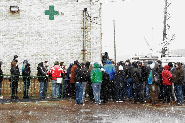 Marijuana Customers Wait in Line in the Snow to Make Their Purchase at the Denver Discreet Dispensary in Denver Colorado Usa 01 January 2014 Colorado is the First State in the Usa to Sell Recreational Marijuana Legally in the Us United States Denver