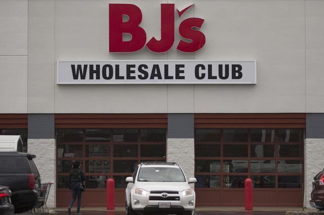 Outside BJ's Wholesale Club in Woburn, Massachusetts, USA 25 October 2017. The warehouse chain, commonly referred to as 'BJ's,' is a membership only food and merchandise store that is based in Westborough, Massachusetts, USA.