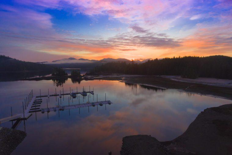 Alaska, Davidson Landing looking into summer solstice using drone