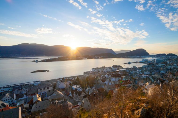 view from the trail to mountain Aksla at the city of Alesund , Norway.