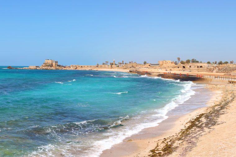 Old city of Caesarea and the beautiful Mediterranean sea panoramic view. Caesarea. Israel