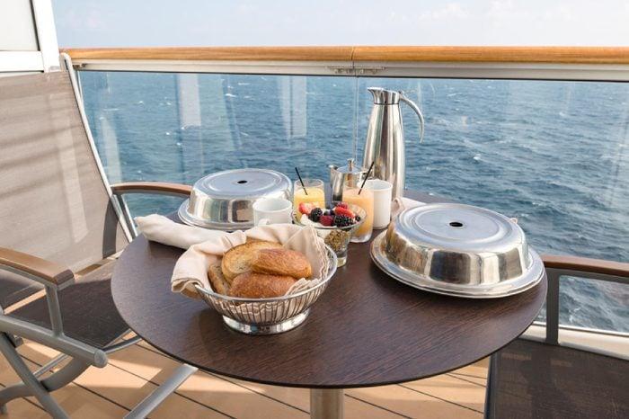 Breakfast on a cruise ship balcony.