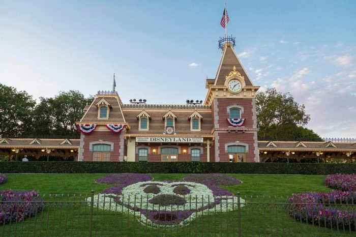 Disneyland Railroad Station, front Mickey mouse made out of flowers, Disneyland Resort, Anaheim, California, USA