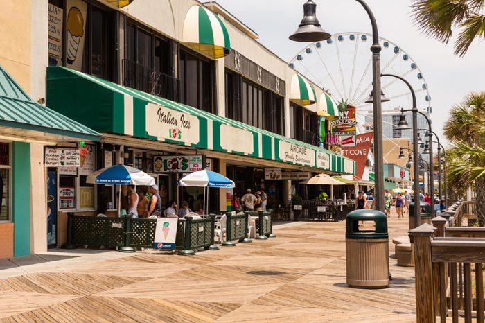 Myrtle Beach, South Caroline, USA-July 10, 2014. Boardwalk in Myrtle Beach, South Carolina.