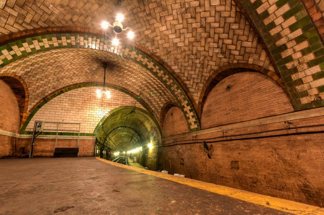 New York, USA - May 30, 2015: City Hall Subway Station in Manhattan. Landmark station built in 1904 to inaugurate the NYC Subway system.