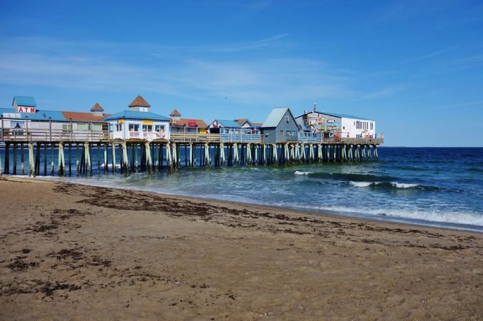 OLD ORCHARD BEACH, ME -30 APRIL 2016- Old Orchard Beach is a city on Saco Bay in York County, Maine, near Portland. It includes a long wooden boardwalk along the beach.