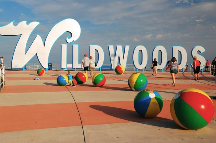 Wildwood, NJ, USA July 26, 2010: The entrance of the boardwalk at Wildwood, a famous tourist spot on the New Jersey Shore