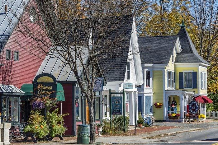 Quaint shops along Main Street, Woodstock
