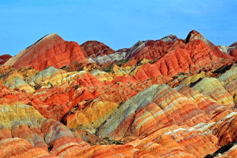 ZHANGYE, CHINA -Â?Â? JULY 27: Danxia landform on July 27, 2013 in Zhangye, China. Danxia landform is formed from red sandstones and conglomerates of largely Cretaceous age.