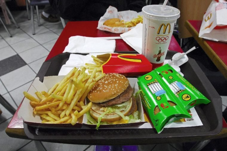A McDonald's Big Mac Meal with extra french fries and 2 apple pies