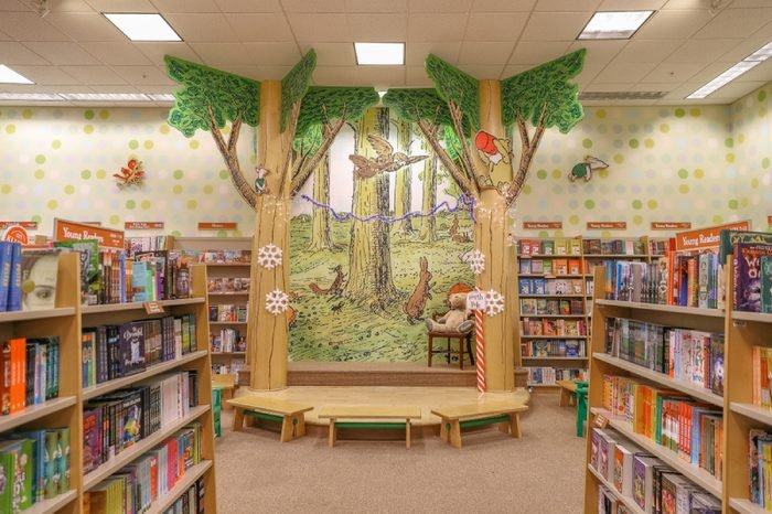 A variety of children's books are placed on the shelves of the Barnes & Noble Bookstore