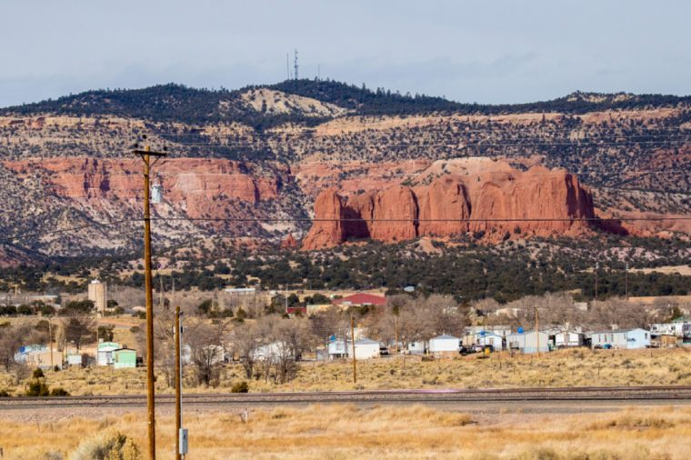 Albuquerque, New Mexico - 1/5/2018: A low cost housing development along Route 66 west of Albuquerque, New Mexico