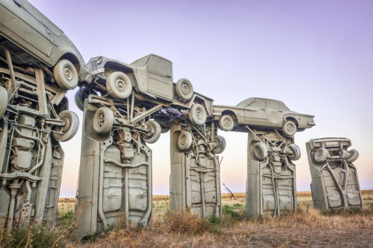 ALLIANCE, NE, USA - SEPTEMBER 27, 2009: Carhenge - famous car sculpture created by Jim Reinders, a modern replica of England's Stonehenge using old cars.