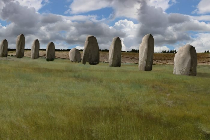 An artist's impression of what the neolithic monuments may have looked like