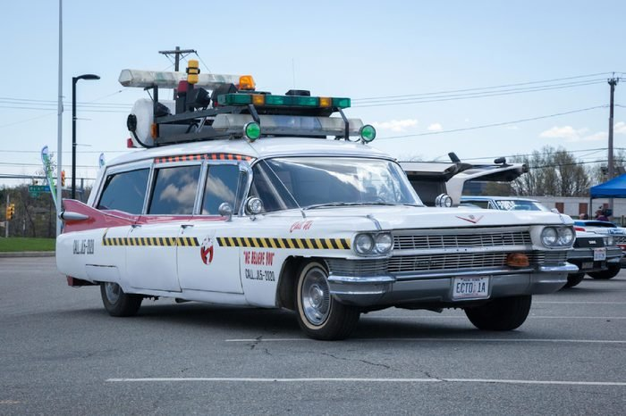 APRIL 26, 2015 - Woodbridge, NJ: A replica of the Ghostbusters Cadillac on display at the Cars of the Hollywood Screen car show.
