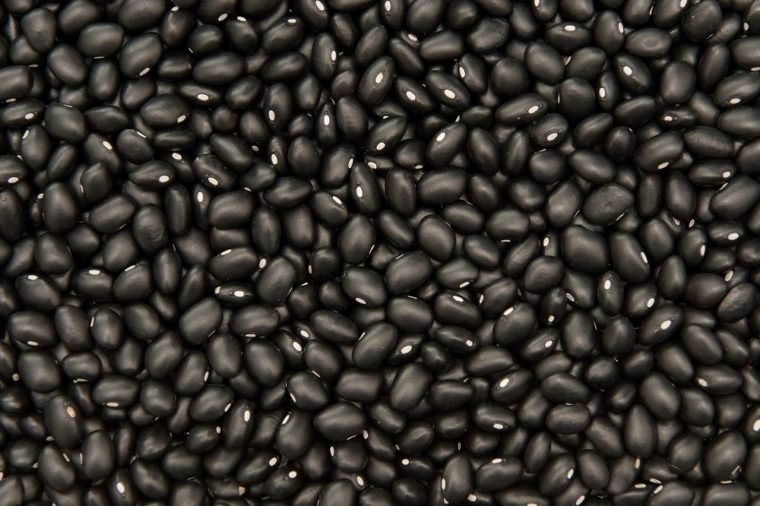 Closeup image of ecological black beans seen from above
