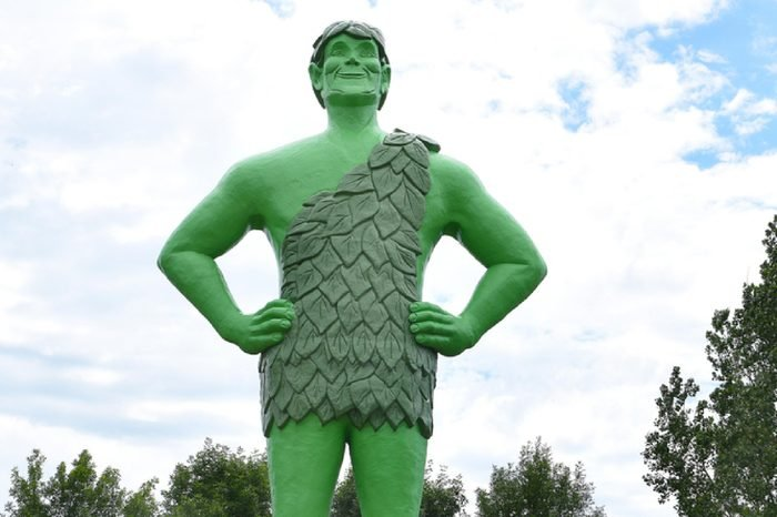 BLUE EARTH, MINNESOTA - JUNE 21, 2017: Jolly Green Giant Statue. The statue is a symbol of the association of the city and the Green Giant Company where peas and corn are still grown and canned.