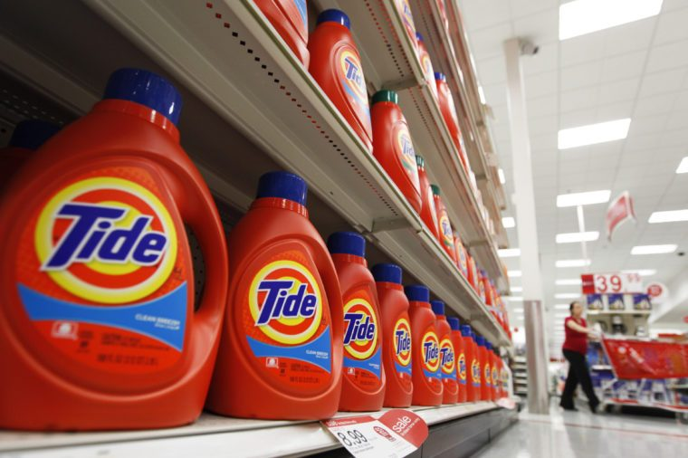 Bottles of Procter & Gamble's Tide detergent are on display at a Target store in Richmond, Va. Procter & Gamble Co. reports quarterly financial results on