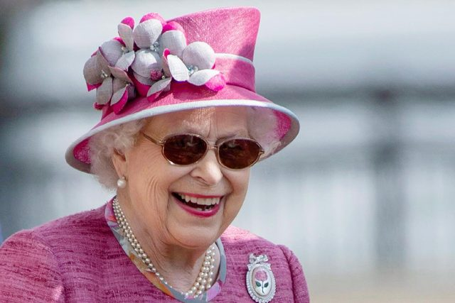 Britain's Queen Elizabeth II reacts as she attends the Royal Windsor Horse Show at Windsor Castle, in Berkshire, England