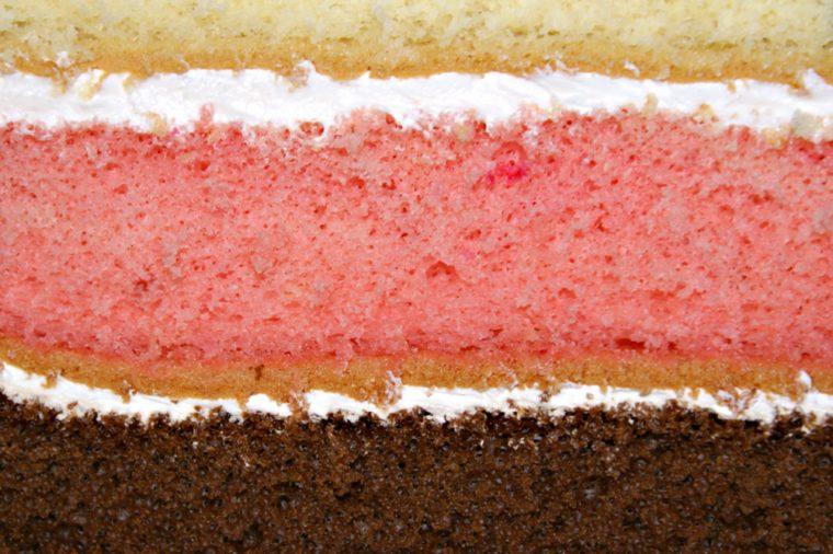 Rainbow cake close up - 3 layered cake