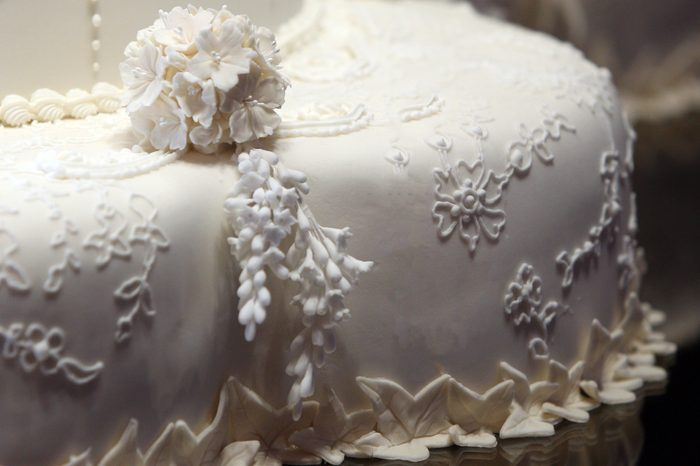 The first cut made by the Duke and Duchess of Cambridge in the royal wedding cake
